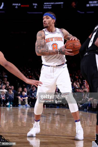 Michael Beasley of the New York Knicks handles the ball during the game against the San Antonio Spurs on January 2 2018 at Madison Square Garden in...
