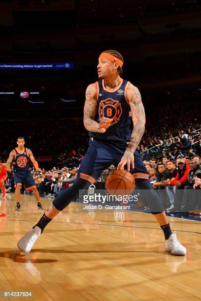 Michael Beasley of the New York Knicks handles the ball during the game against the Atlanta Hawks on February 4 2018 in New York City New York at...