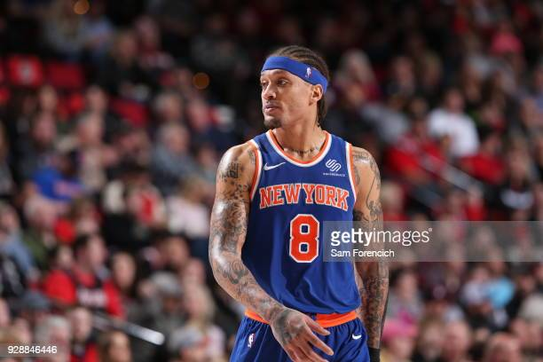 Michael Beasley of the New York Knicks looks on during the game against the against the Portland Trail Blazers on March 6 2018 at the Moda Center...