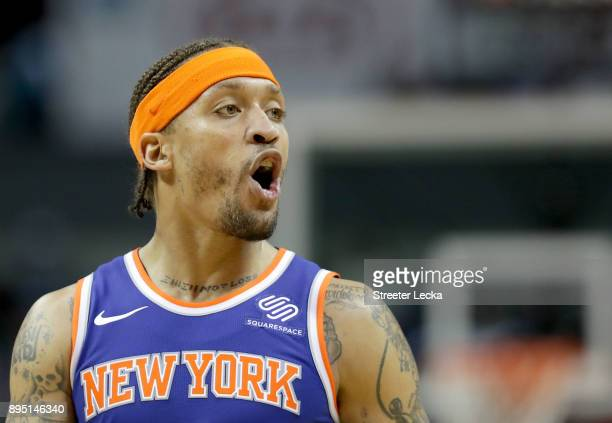 Michael Beasley of the New York Knicks reacts against the Charlotte Hornets during their game at Spectrum Center on December 18 2017 in Charlotte...