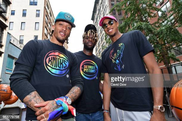 Michael Beasley of the New York Knicks Reggie Bullock of the Detroit Pistons and John Henson of the Milwaukee Bucks pose for a photo during the NYC...