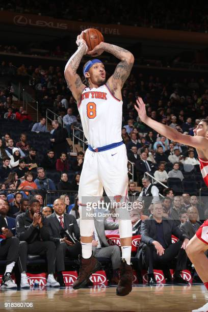 Michael Beasley of the New York Knicks shoots the ball against the Washington Wizards on February 14 2018 at Madison Square Garden in New York NY...