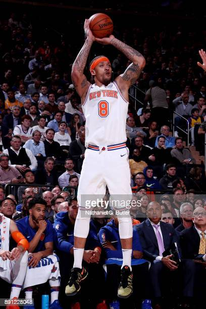 Michael Beasley of the New York Knicks shoots the ball during the game against the Los Angeles Lakers on December 12 2017 at Madison Square Garden in...