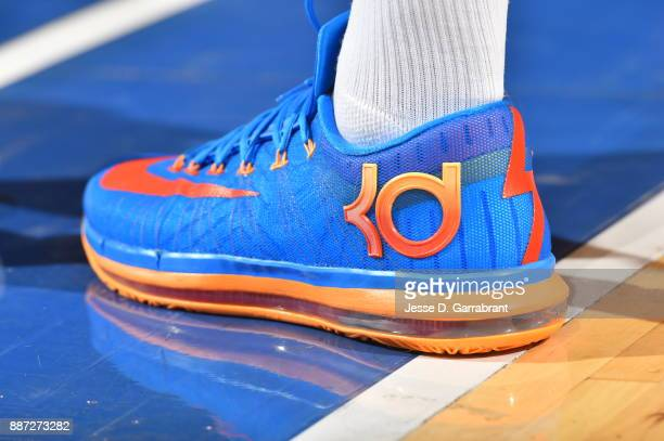 Michael Beasley of the New York Knicks showcases his sneakers against the Memphis Grizzlies at Madison Square Garden on December 6 2017 in New...