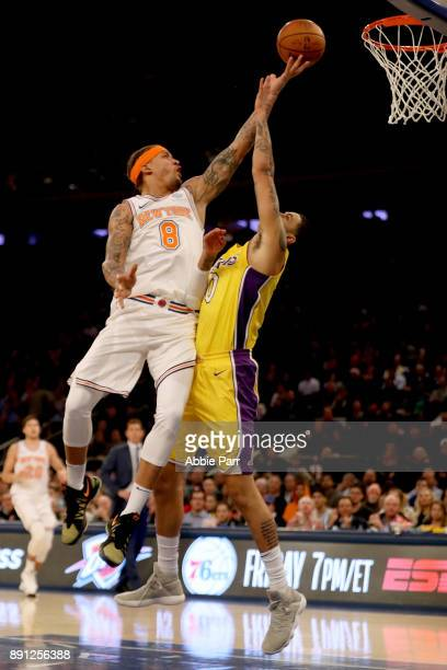 Michael Beasley of the New York Knicks takes a shot against Julius Randle of the Los Angeles Lakers in the fourth quarter during their game at...