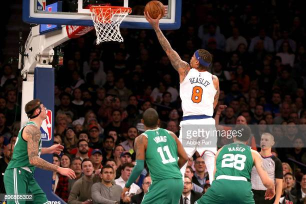 Michael Beasley of the New York Knicks takes a shot in the fourth quarter against the Boston Celtics during their game at Madison Square Garden on...
