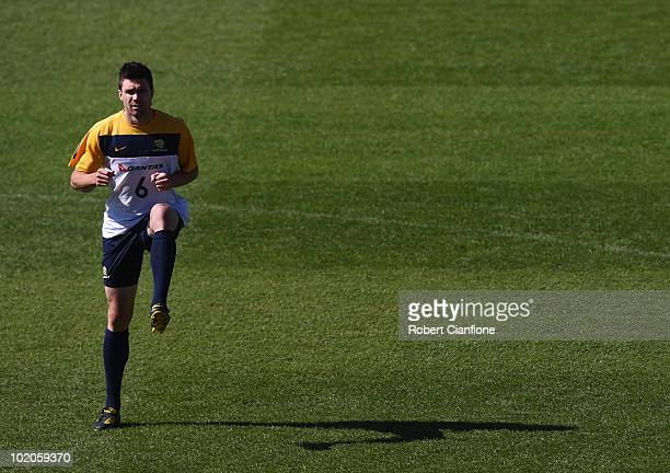 Michael Beauchamp of Australia warms up during an Australian Socceroos trainin session at Ruimsig Stadium on June 14 2010 in Roodepoort South Africa