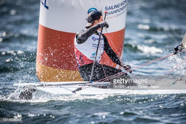Michael Beckett from the British Sailing Team sails at the 2018 ISAF Sailing World Championships on August 10 2018 in Aarhus Denmark