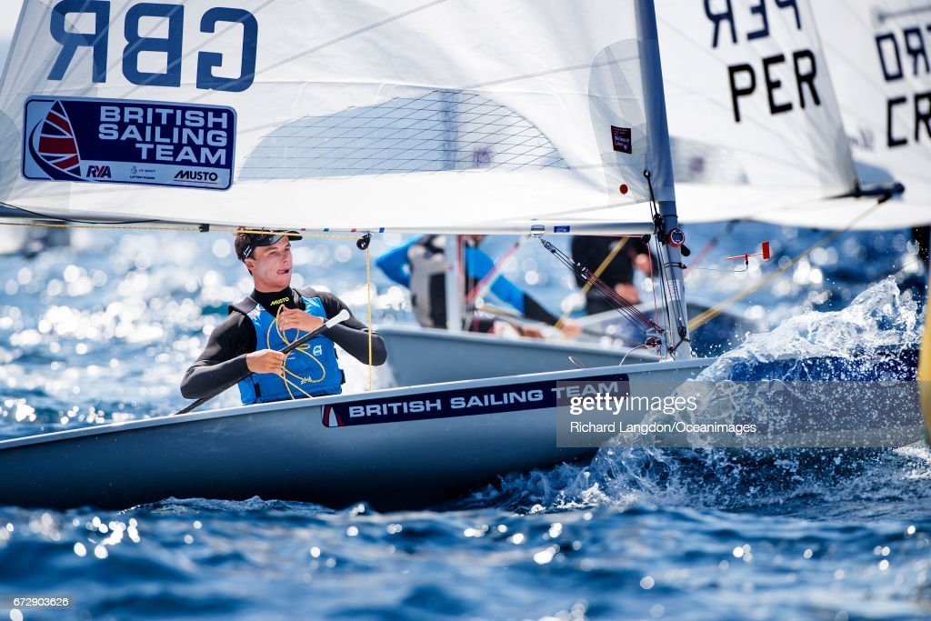 Michael Beckett from the British Sailing Team sails his Laser during the ISAF Sailing World Cup Hyeres on April 25, 2017 in Hyeres, France.