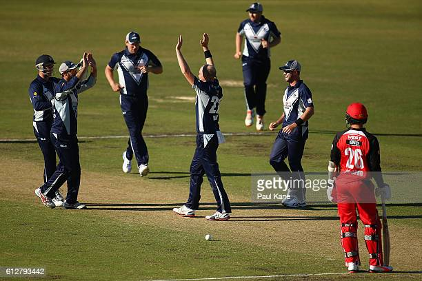 Michael Beer of the Bushrangers celebrates the wicket of Jake Lehmann of the Redbacks during the Matador BBQs One Day Cup match between South...