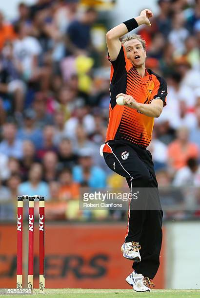 Michael Beer of the Perth Scorchers bowls during the Big Bash League semifinal match between the Perth Scorchers and the Melbourne Stars at the WACA...