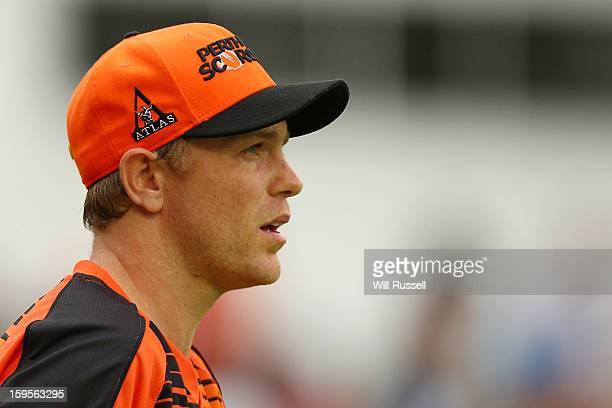 Michael Beer of the Scorchers looks on from the outfield during the Big Bash League semifinal match between the Perth Scorchers and the Melbourne...