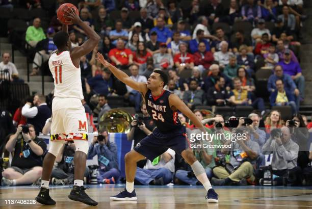 Michael Benkert of the Belmont Bruins defends against Darryl Morsell of the Maryland Terrapins in the first half during the first round of the 2019...