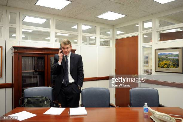 Michael Bennet appointee to the Senate seat vacated by Sen Ken Salazar DColo speaks on the phone in his Hart Building office January 5 2009