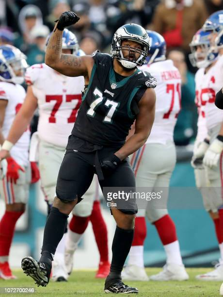 Michael Bennett of the Philadelphia Eagles celebrates in the second half against the New York Giants at Lincoln Financial Field on November 25 2018...