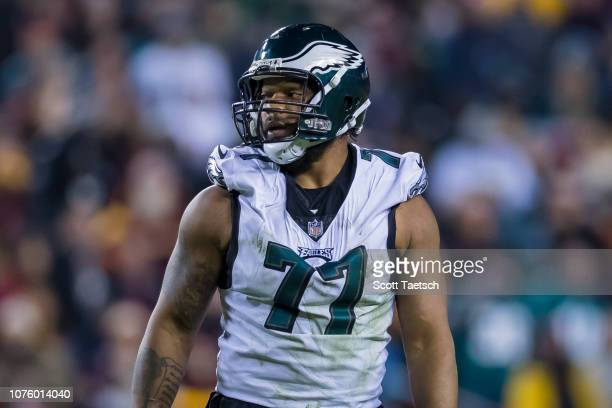 Michael Bennett of the Philadelphia Eagles looks on against the Washington Redskins during the second half at FedExField on December 30 2018 in...