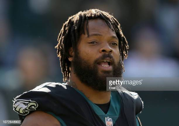 Michael Bennett of the Philadelphia Eagles looks on during warmups before the game against the New York Giants at Lincoln Financial Field on November...