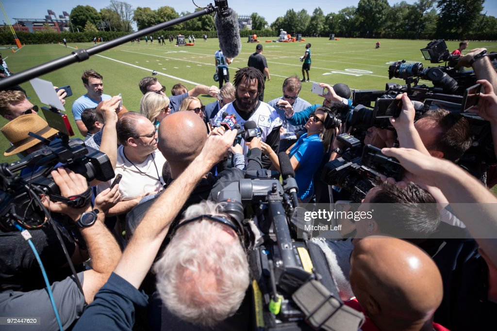 Michael Bennett #77 of the Philadelphia Eagles talks to the media during Eagles minicamp at the NovaCare Complex on June 12, 2018 in Philadelphia, Pennsylvania.