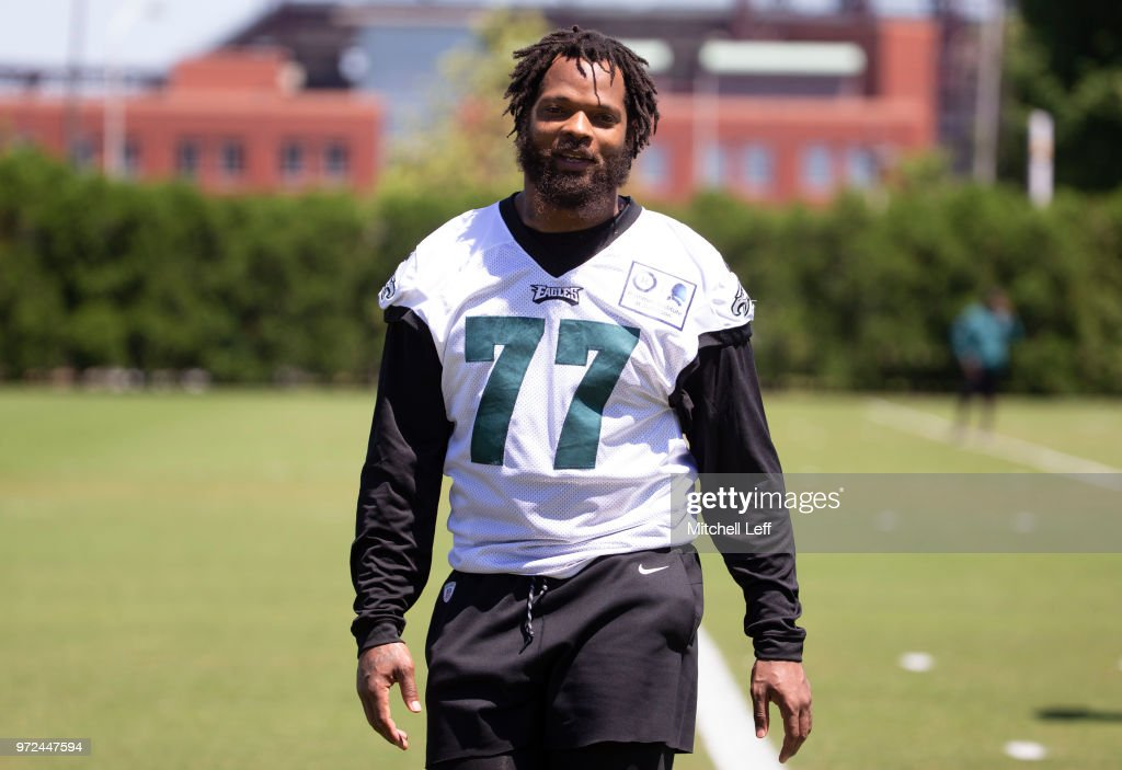 Michael Bennett  77 of the Philadelphia Eagles walks off the field after  Eagles minicamp at aa8e41715