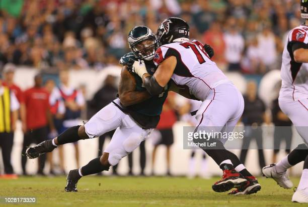 Michael Bennett of the Philadelphia Eagles works against Jake Matthews of the Atlanta Falcons during the second half at Lincoln Financial Field on...