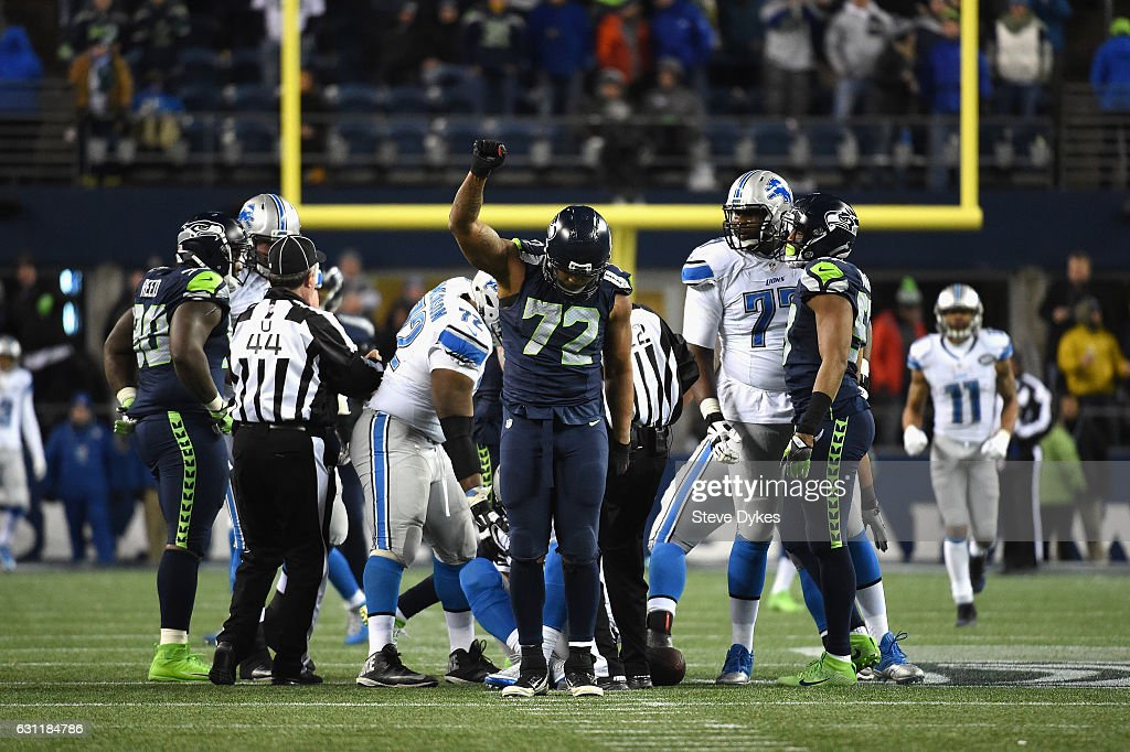 Michael Bennett #72 of the Seattle Seahawks reacts after a sack during the second half against the Detroit Lions in the NFC Wild Card game at CenturyLink Field on January 7, 2017 in Seattle, Washington.