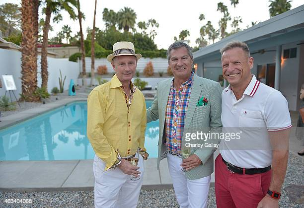 Michael Benthall, Joe Enos and Dana Krueger attend the Photos.com and Laurel & Wolf Modernism Week Poolside Cocktail Party on February 13, 2015 in...