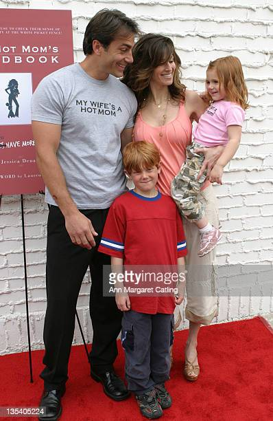 Michael Bergin and Joy TilkBergin with Kids during HOT MOM'S CLUB Book Launch Party at Nana's Garden in Los Angeles California United States