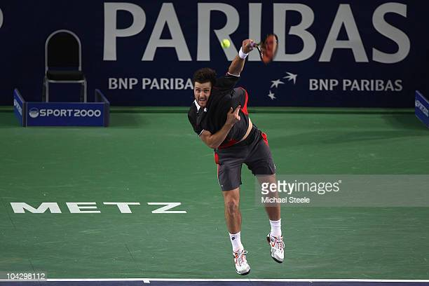 Michael Berrer of Germany in action during his victory against Rainer Schuettler of Germany during day one of the Open de Moselle at Les Arenes on...