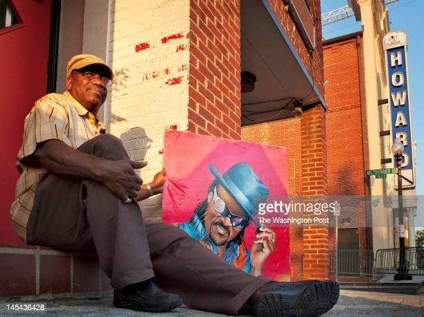 Michael Berry lifelong resident is first in line with his sketch of legendary musician Chuck Brown who will be memorialized at the Howard Theater on...