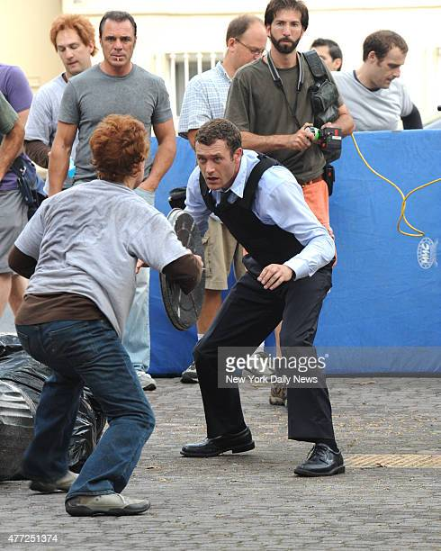 "Michael Bertolini fighting Jason O'Mara during the filming of the TV Series ""Life On Mars"" on Madison Street on the lower east side of Manhattan."