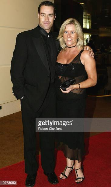 Michael Bevan arrives with his wife Tracy for the Allan Border Medal during the Allan Border Medal Award Dinner held at Crown Casino on February 12,...