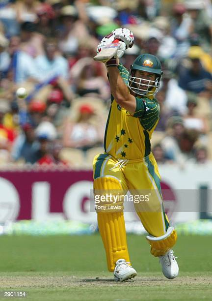 Michael Bevan drives Douglas Hondo during the VB Series One Day International between Australia and Zimbabwe at The Adelaide Oval on January 26 2004...
