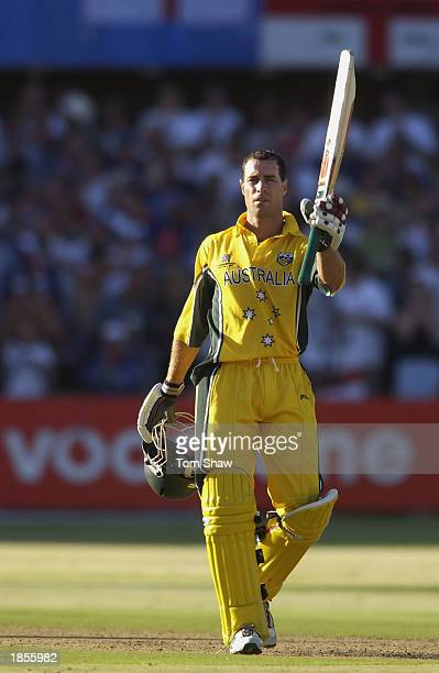Michael Bevan of Australia celebrates his half century during the ICC Cricket World Cup 2003, Pool A match between Australia and England held on...