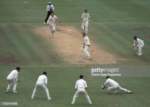 Michael Bevan of Australia is caught for 7 runs by England wicketkeeper Steve Rhodes off the bowling of Angus Fraser during the 3rd Test match...