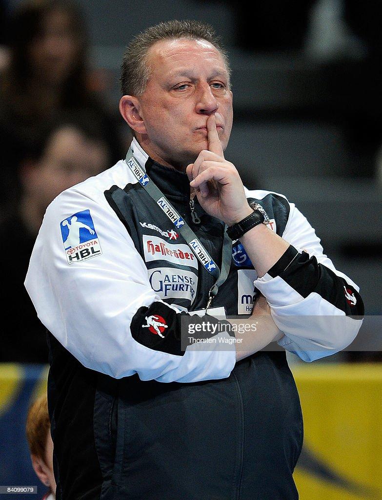 Michael Biegler, head coach of Magdeburg gestures during the Toyota Handball Bundesliga match between Rhein Neckar Loewen and SC Magdeburg at the SAP-Arena on December 20, 2008 in Mannheim, Germany.