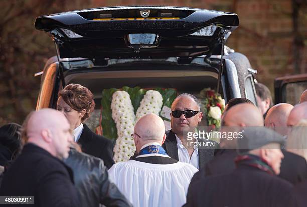 Michael Biggs attends the funeral of his father Great Train Robber Ronnie Biggs at Golders Green crematorium in north London on January 3 2014 Biggs...