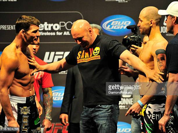 Michael Bisping and Alan Belcher square off during the UFC 159 Jones v Sonnen official weigh in at Prudential Center on April 26 2013 in Newark New...