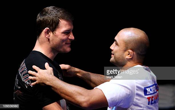 Michael Bisping and BJ Penn embrace during an Open Workout ahead of UFC Sydney 127 at Star City on February 22, 2011 in Sydney, Australia.