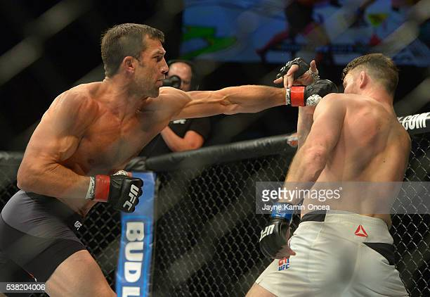 Michael Bisping and Luke Rockhold during their middleweight championship bout at UFC 199 at The Forum on June 4 2016 in Inglewood California