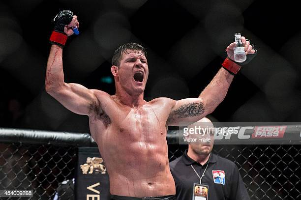 Michael Bisping celebrates after winning his middleweight fight against Cung Le of USA during the UFC Fight Night at The Venetian Macao Cotai Arena...