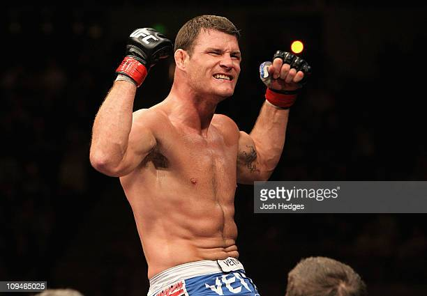 Michael Bisping of England celebrates his win over Jorge Rivera of the USA during their Middleweight bout at UFC 127 at Acer Arena on February 27...
