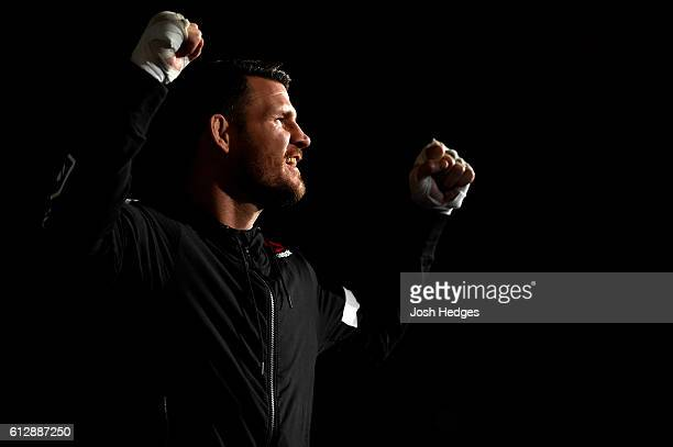 Michael Bisping of England holds an open training session for fans and media at the Manchester Arena on October 5 2016 in Manchester England