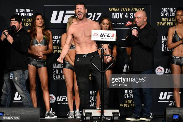 Michael Bisping of England poses on the scale during the UFC 217 weighin inside Madison Square Garden on November 3 2017 in New York City