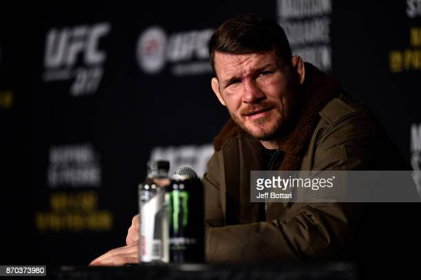 Michael Bisping of England speaks to the media during the UFC 217 post fight press conference event inside Madison Square Garden on November 4 2017...