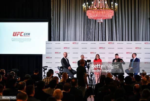 Michael Bisping of England speaks to the media during the UFC Gym Press Conference in Glaziers Hall on March 15 2018 in London England