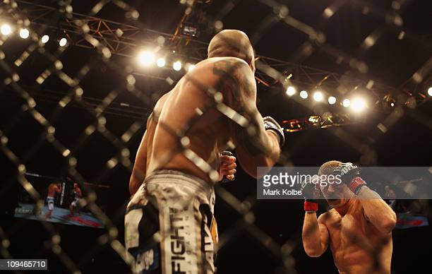 Michael Bisping of Great Britain shapes up to Jorge Rivera of the USA after winning their middleweight bout part of at UFC 127 at Acer Arena on...