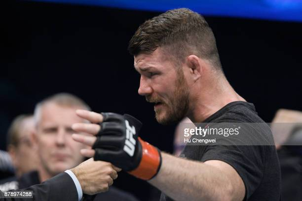 Michael Bisping speaks during the UFC Fight Night at MercedesBenz Arena on November 25 2017 in Shanghai China