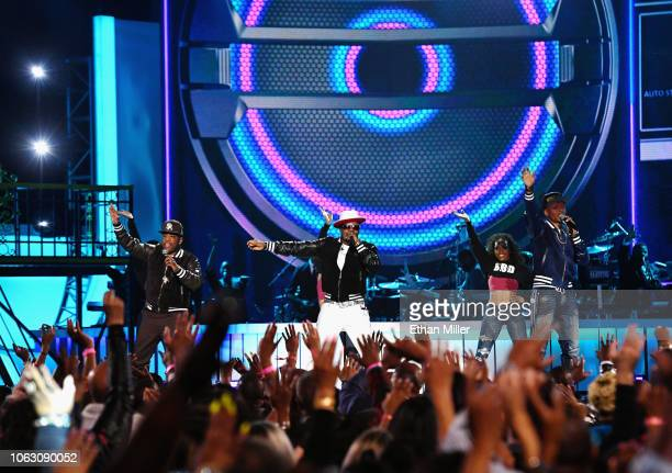 Michael Bivins Ricky Bell and Ronnie DeVoe of Bell Biv DeVoe perform onstage during the 2018 Soul Train Awards presented by BET at the Orleans Arena...