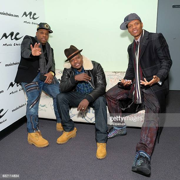 Michael Bivins Ricky Bell and Ronnie DeVoe of Bell Biv DeVoe visit Music Choice on January 19 2017 in New York City