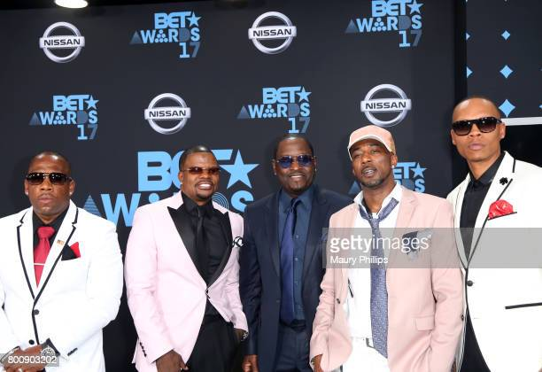 Michael Bivins Ricky Bell Johnny Gill Ralph Tresvant and Ronnie DeVoe of New Edition at the 2017 BET Awards at Microsoft Square on June 25 2017 in...